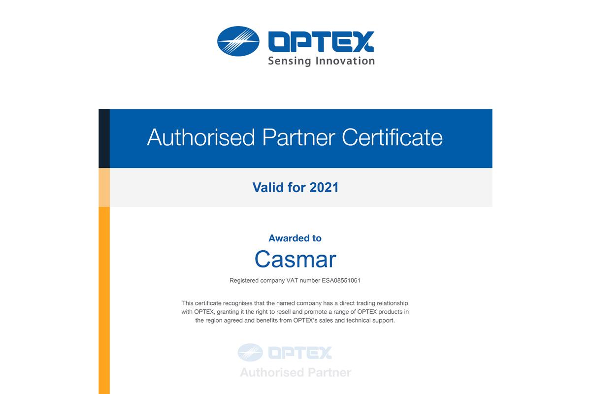 Optex reforça a posição da Casmar como distribuidor oficial